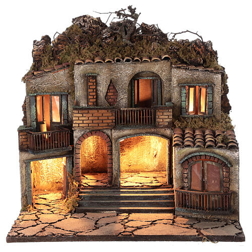 Iluminated village three houses 50x50x40 cm Neapolitan Nativity Scene for figurines of 10-12 cm average height 1
