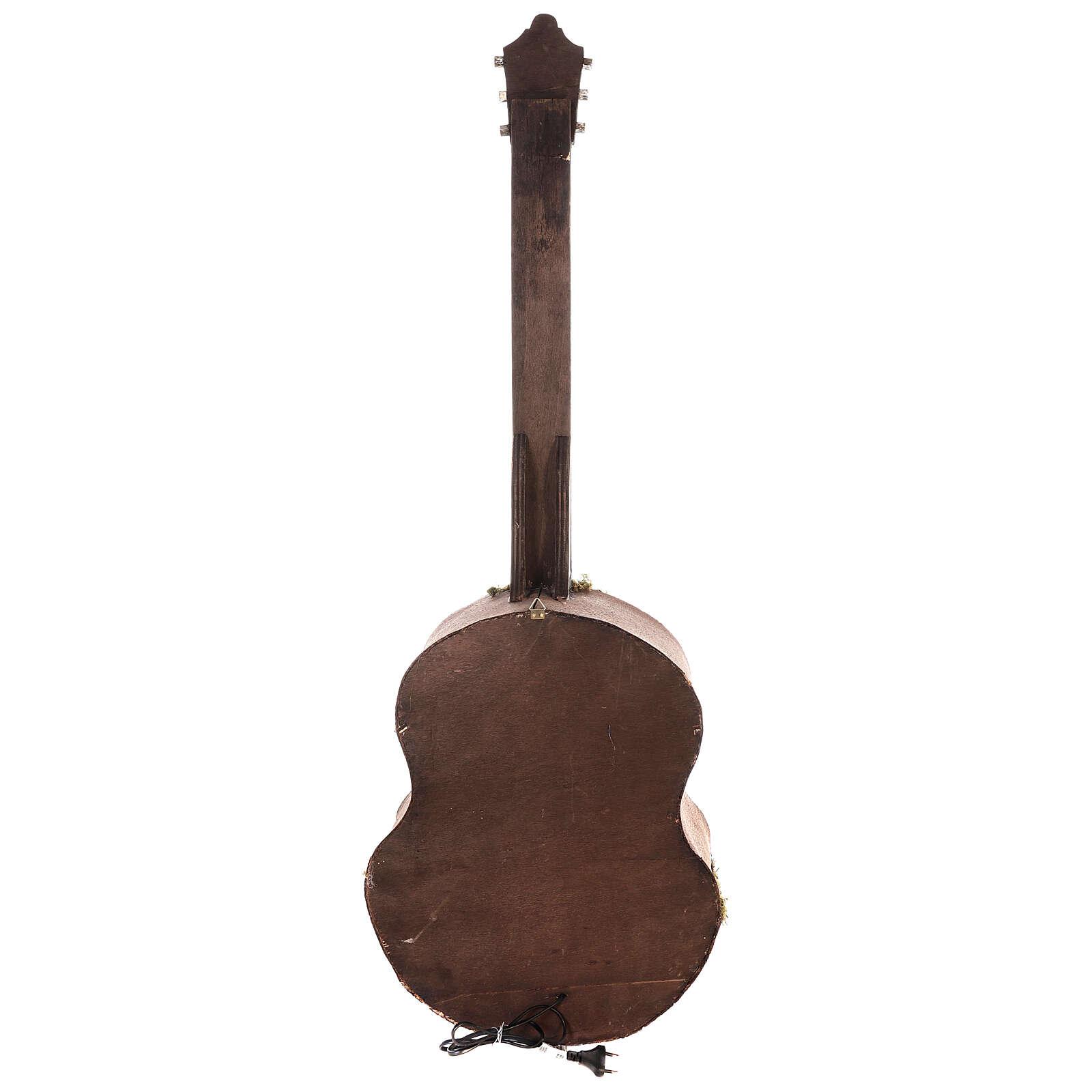 Crèche complète guitare Naples éclairée 125x50x20 cm santons 6 cm 4