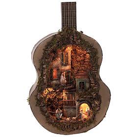 Crèche complète guitare Naples éclairée 125x50x20 cm santons 6 cm s3