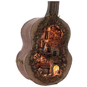 Crèche complète guitare Naples éclairée 125x50x20 cm santons 6 cm s4
