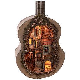 Crèche complète guitare Naples éclairée 125x50x20 cm santons 6 cm s8