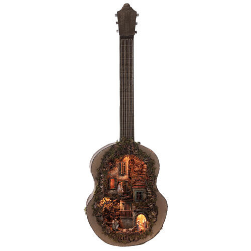 Crèche complète guitare Naples éclairée 125x50x20 cm santons 6 cm 1