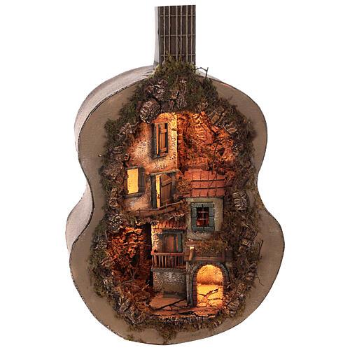Crèche complète guitare Naples éclairée 125x50x20 cm santons 6 cm 8