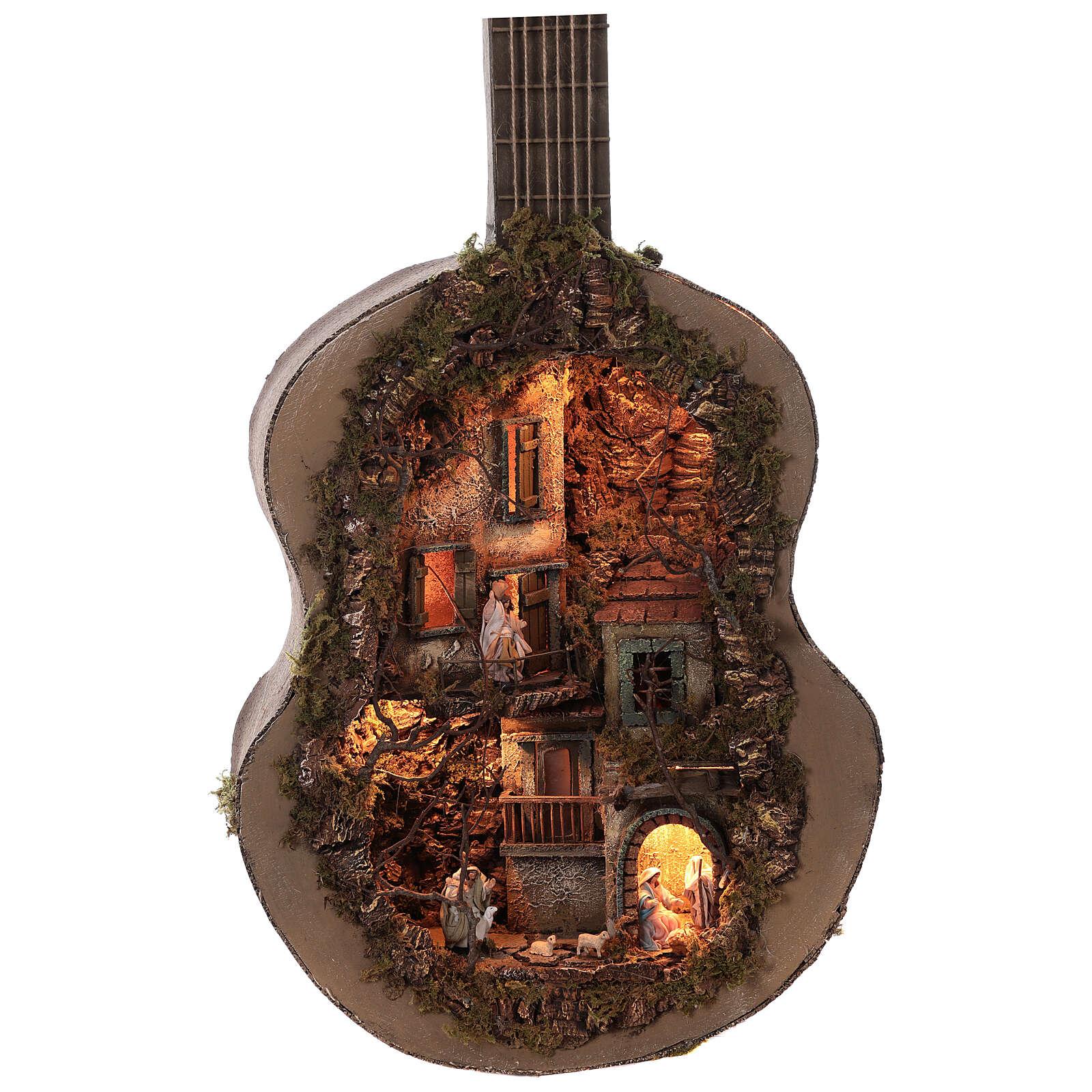 Neapolitan Nativity Scene in an iluminated guitare 125x50x20 cm for figurines of 6 cm average height 4