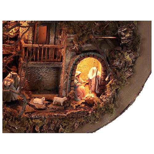 Neapolitan Nativity Scene in an iluminated guitare 125x50x20 cm for figurines of 6 cm average height 2