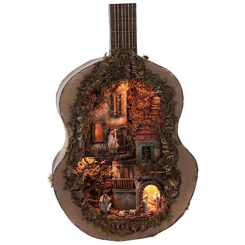 Neapolitan Nativity Scene in an iluminated guitare 125x50x20 cm for figurines of 6 cm average height 3
