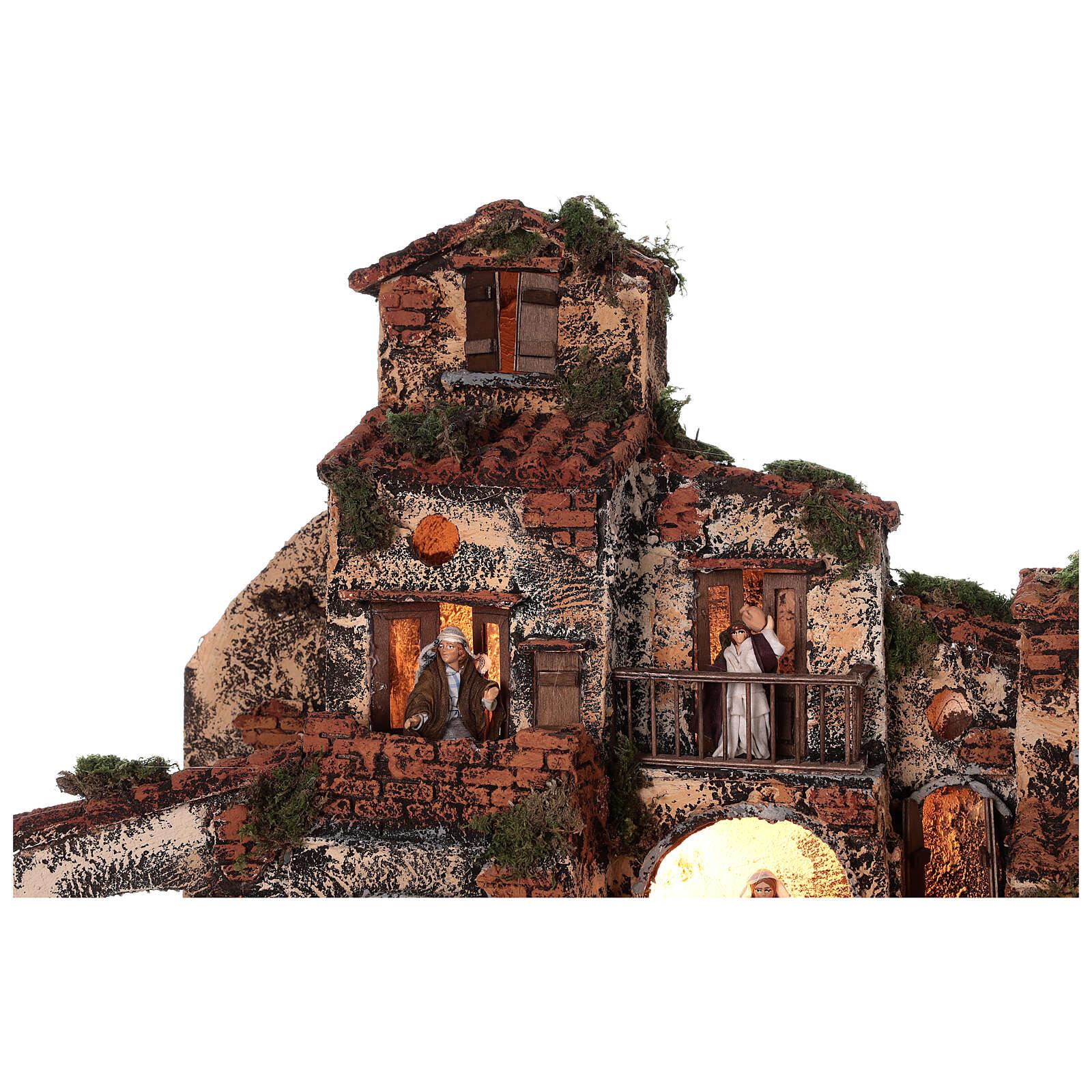 Village crèche napolitaine complète fontaine lumières 45x50x35 cm 4