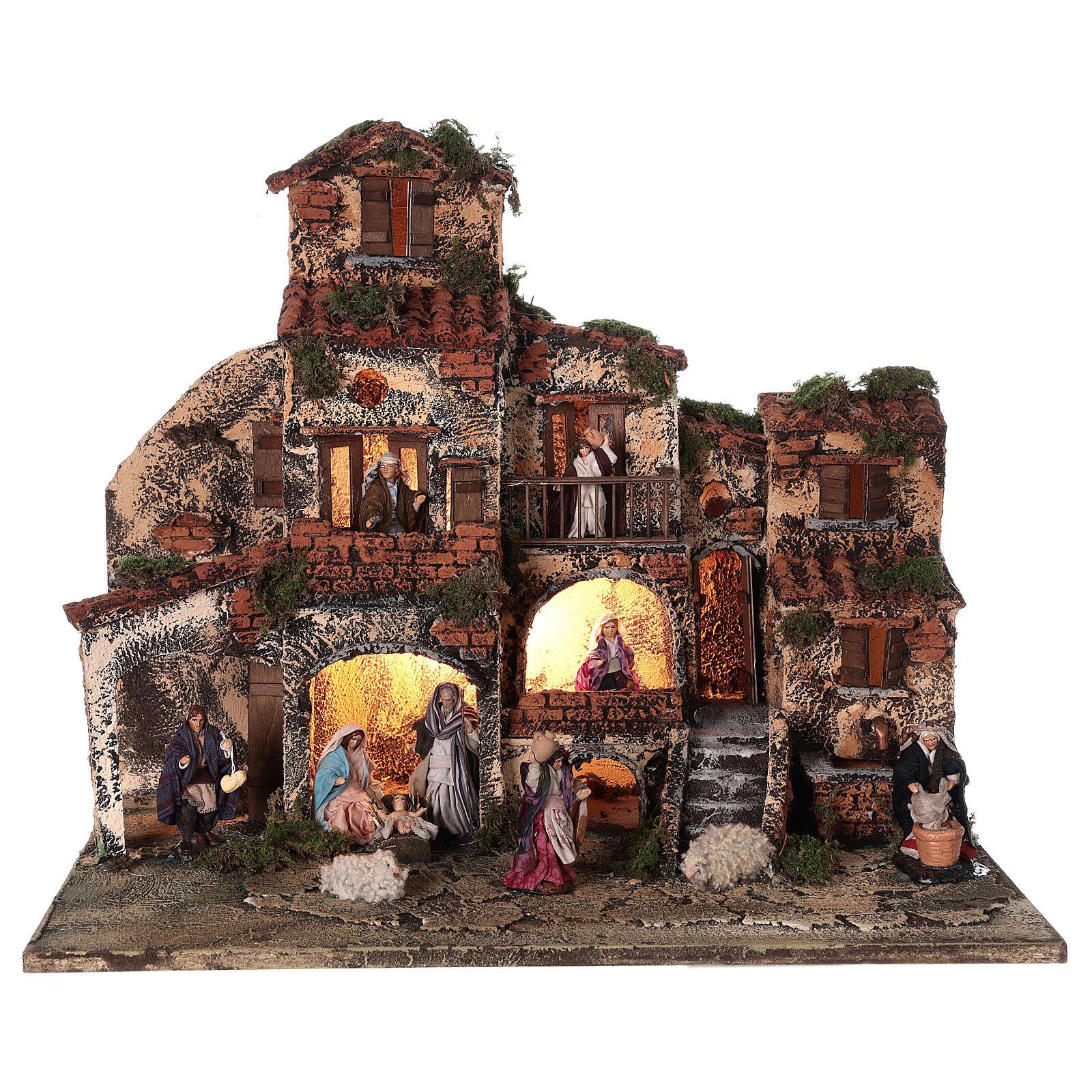 Borgo presepe napoletano completo fontana luci 45x50x35 cm 4
