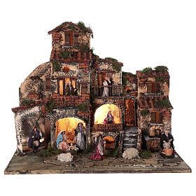 Borgo presepe napoletano completo fontana luci 45x50x35 cm s1