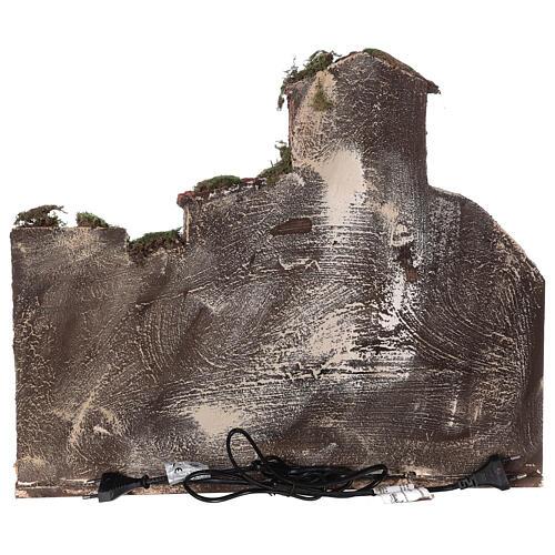 Borgo presepe napoletano completo fontana luci 45x50x35 cm 6