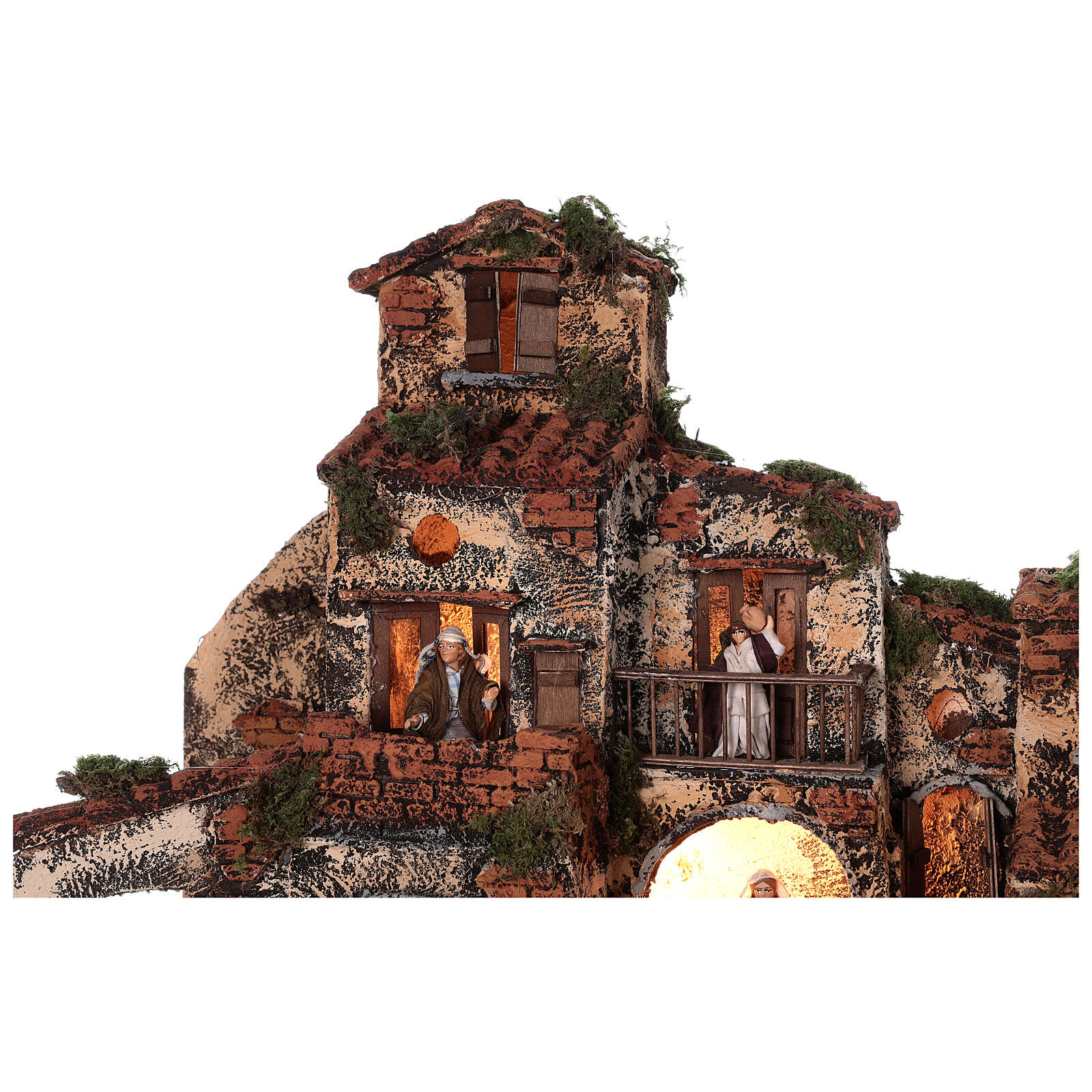 Complete Neapolitan Nativity Scene village fountain and lights 45x50x35 cm 4