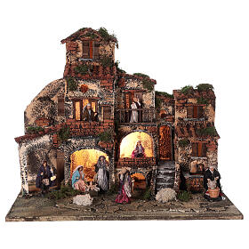 Complete Neapolitan Nativity Scene village fountain and lights 45x50x35 cm s1