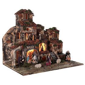 Complete Neapolitan Nativity Scene village fountain and lights 45x50x35 cm s5