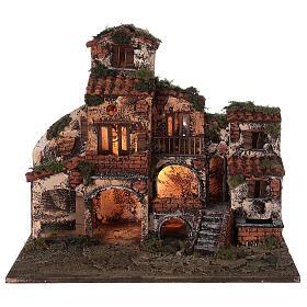 Complete Neapolitan Nativity Scene village fountain and lights 45x50x35 cm s7