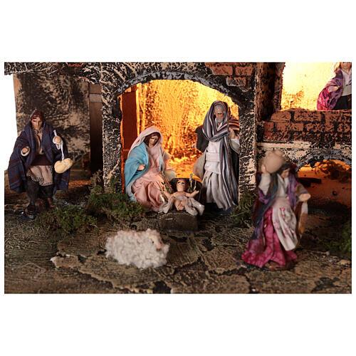 Complete Neapolitan Nativity Scene village fountain and lights 45x50x35 cm 2