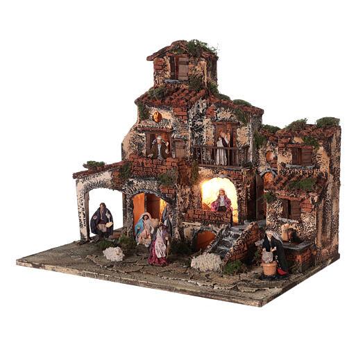 Complete Neapolitan Nativity Scene village fountain and lights 45x50x35 cm 3