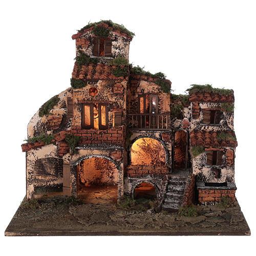 Complete Neapolitan Nativity Scene village fountain and lights 45x50x35 cm 7