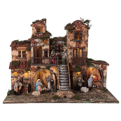 Complete Neapolitan Nativity Scene village stairs fountain oven lights and figurines 40x50x30 cm 1