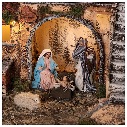 Complete Neapolitan Nativity Scene village stairs fountain oven lights and figurines 40x50x30 cm 2