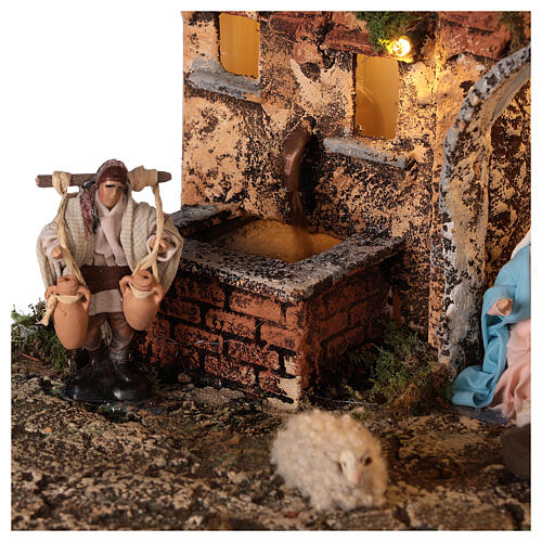 Complete Neapolitan Nativity Scene village stairs fountain oven lights and figurines 40x50x30 cm 6