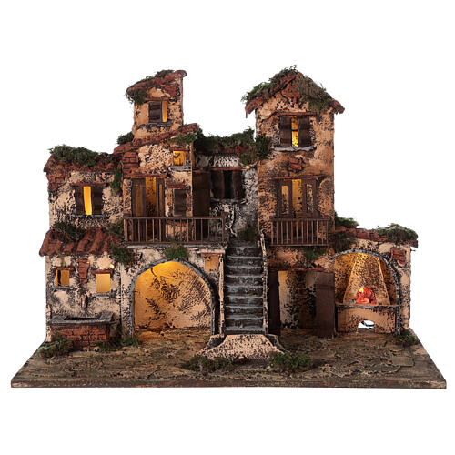 Complete Neapolitan Nativity Scene village stairs fountain oven lights and figurines 40x50x30 cm 8