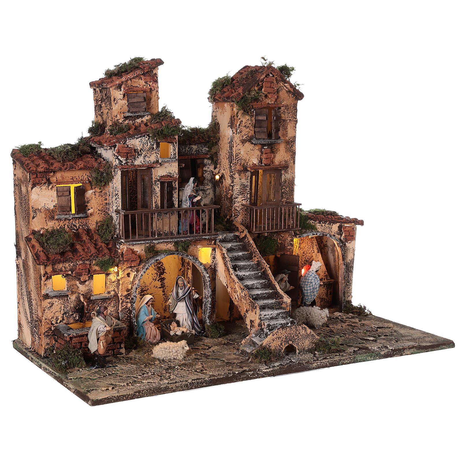 Aldeia presépio napolitano completo com escada, forno e luzes, figuras altura média 8 cm, medidas: 41x48x30 cm 4