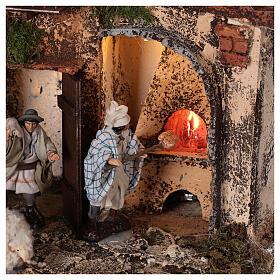 Aldeia presépio napolitano completo com escada, forno e luzes, figuras altura média 8 cm, medidas: 41x48x30 cm s4