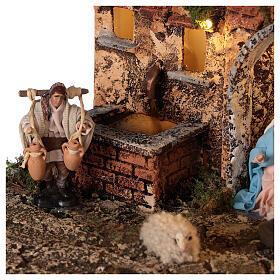 Aldeia presépio napolitano completo com escada, forno e luzes, figuras altura média 8 cm, medidas: 41x48x30 cm s6