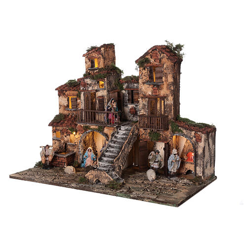 Aldeia presépio napolitano completo com escada, forno e luzes, figuras altura média 8 cm, medidas: 41x48x30 cm 3