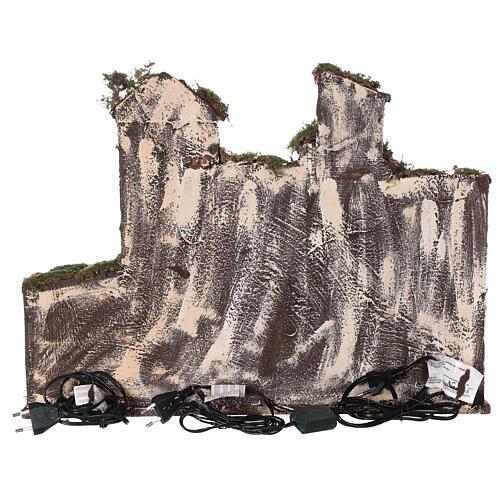 Aldeia presépio napolitano completo com escada, forno e luzes, figuras altura média 8 cm, medidas: 41x48x30 cm 7