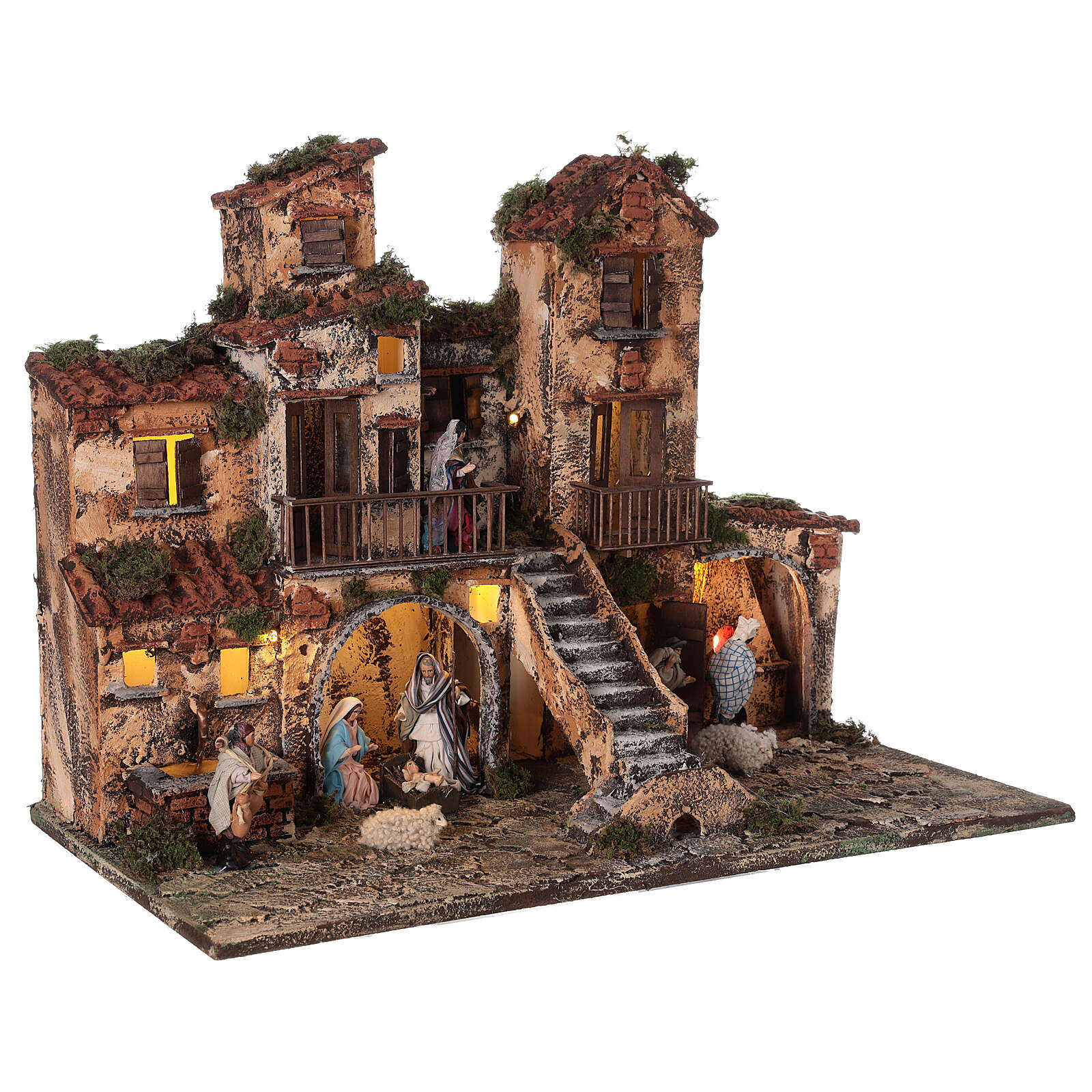Complete Neapolitan Nativity Scene village stairs fountain oven lights and figurines 40x50x30 cm 4