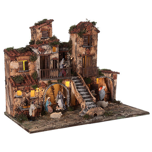 Complete Neapolitan Nativity Scene village stairs fountain oven lights and figurines 40x50x30 cm 5