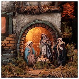 Moka pot Nativity Scene REAL SMOKE 100x60x50 cm Neapolitan Nativity Scene for figurines of 8 cm average height s5