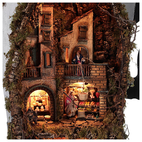 Moka pot Nativity Scene REAL SMOKE 100x60x50 cm Neapolitan Nativity Scene for figurines of 8 cm average height 2