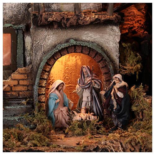 Moka pot Nativity Scene REAL SMOKE 100x60x50 cm Neapolitan Nativity Scene for figurines of 8 cm average height 5