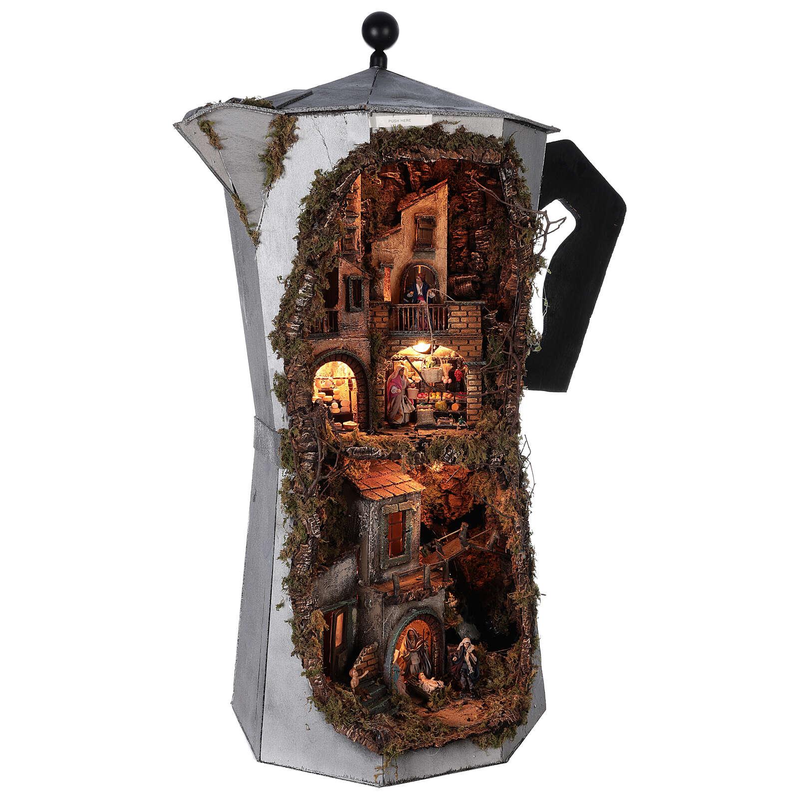 Presepe Moka completo VERO FUMO 100x60x50 napoletano statue terracotta 8 cm 4