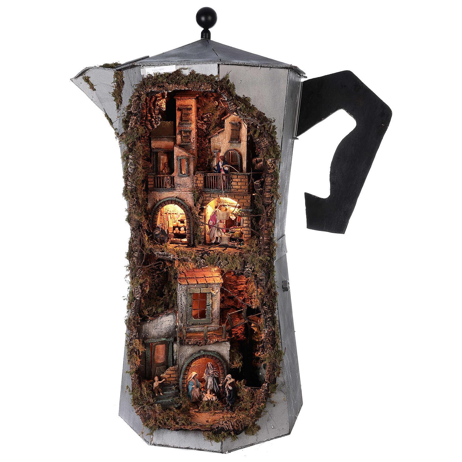 Presépio completo napolitano cafeteira moka com FUMAÇA VERDADEIRA, figuras terracota altura média 8 cm, medidas: 102x60x52 cm 4