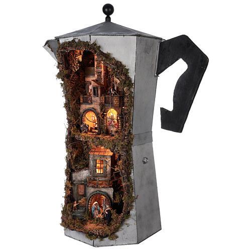 Presépio completo napolitano cafeteira moka com FUMAÇA VERDADEIRA, figuras terracota altura média 8 cm, medidas: 102x60x52 cm 3