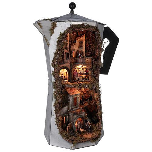 Presépio completo napolitano cafeteira moka com FUMAÇA VERDADEIRA, figuras terracota altura média 8 cm, medidas: 102x60x52 cm 6