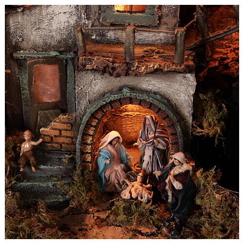 Presépio completo napolitano cafeteira moka com FUMAÇA VERDADEIRA, figuras terracota altura média 8 cm, medidas: 102x60x52 cm 7