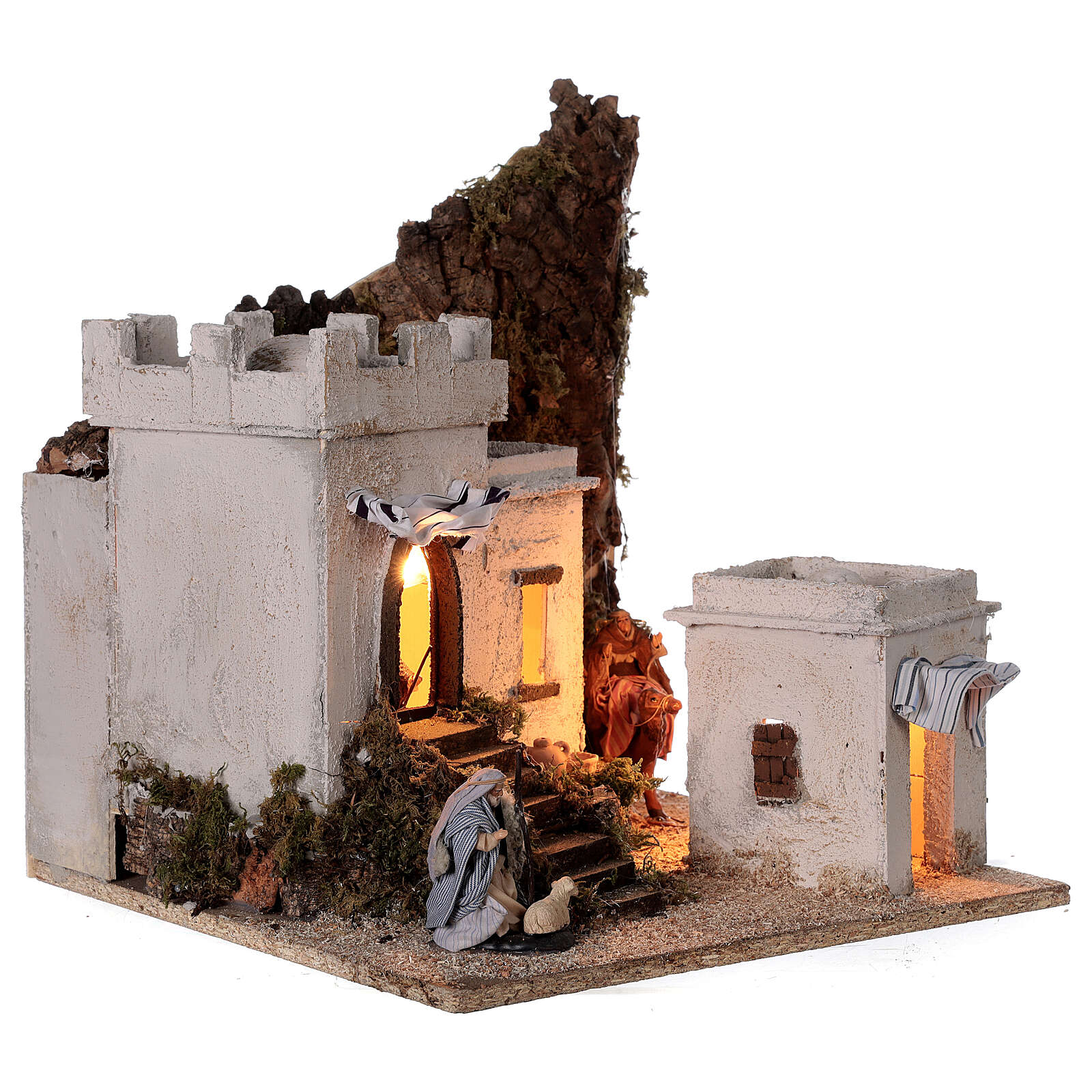 Arab setting (A) white houses for Neapolitan Nativity Scene with 8 cm figurines 35x35x35 cm 4