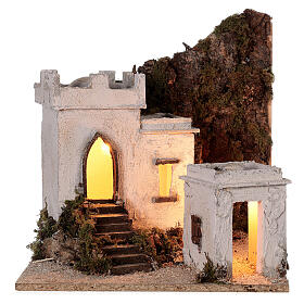 Arab setting (A) white houses for Neapolitan Nativity Scene with 8 cm figurines 35x35x35 cm s5