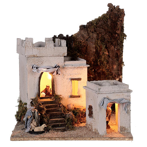 Arab setting (A) white houses for Neapolitan Nativity Scene with 8 cm figurines 35x35x35 cm 1