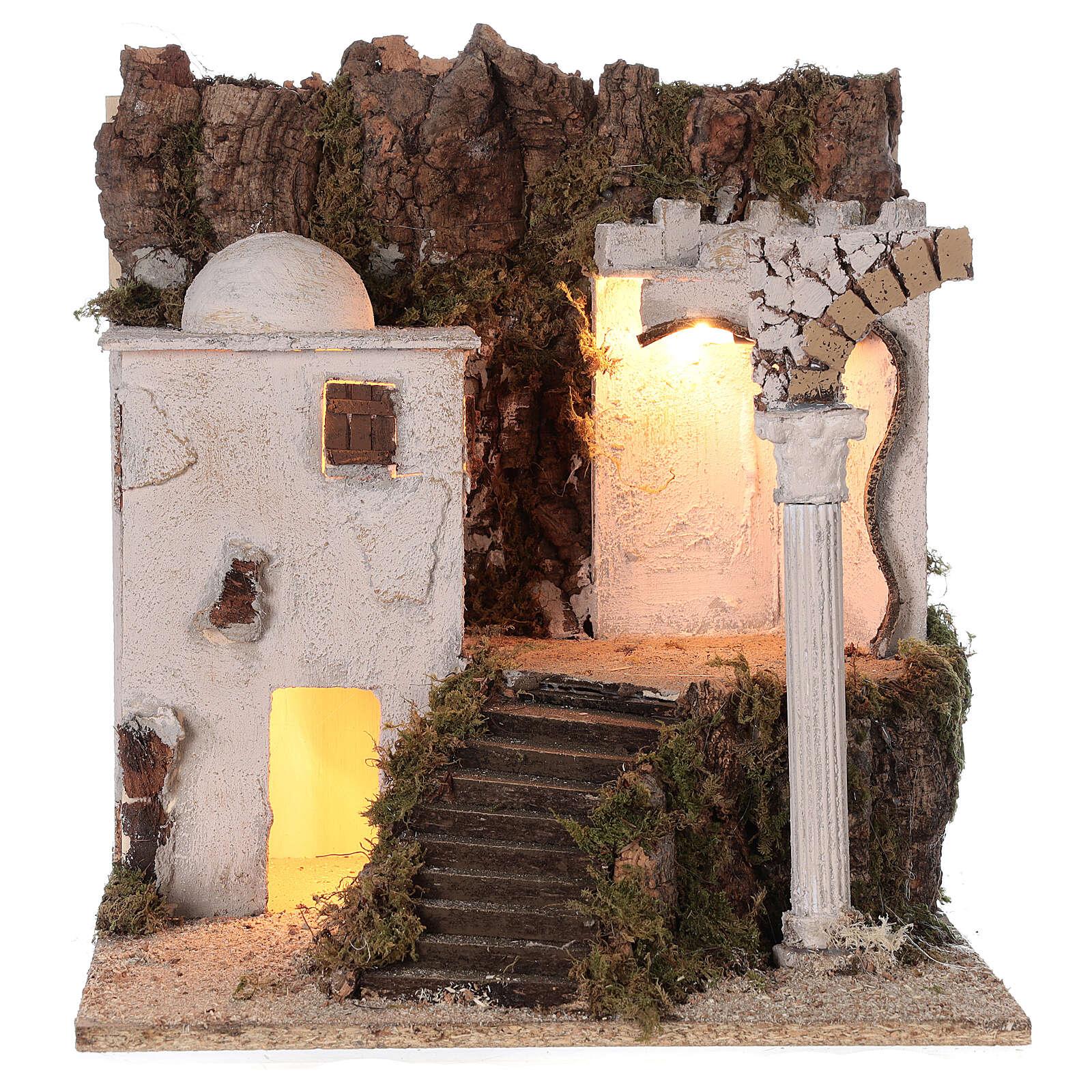 Village arabe (B) Nativité bergers 8 cm éclairage crèche napolitaine 40x35x35 cm 4