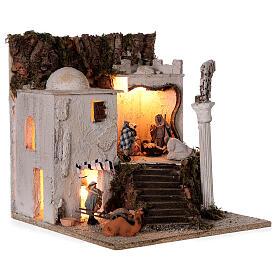 Village arabe (B) Nativité bergers 8 cm éclairage crèche napolitaine 40x35x35 cm s4