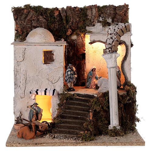 Village arabe (B) Nativité bergers 8 cm éclairage crèche napolitaine 40x35x35 cm 1