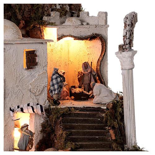 Village arabe (B) Nativité bergers 8 cm éclairage crèche napolitaine 40x35x35 cm 2