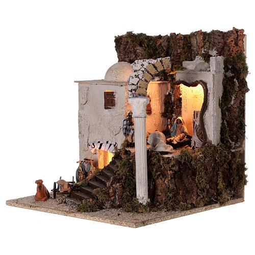 Village arabe (B) Nativité bergers 8 cm éclairage crèche napolitaine 40x35x35 cm 3