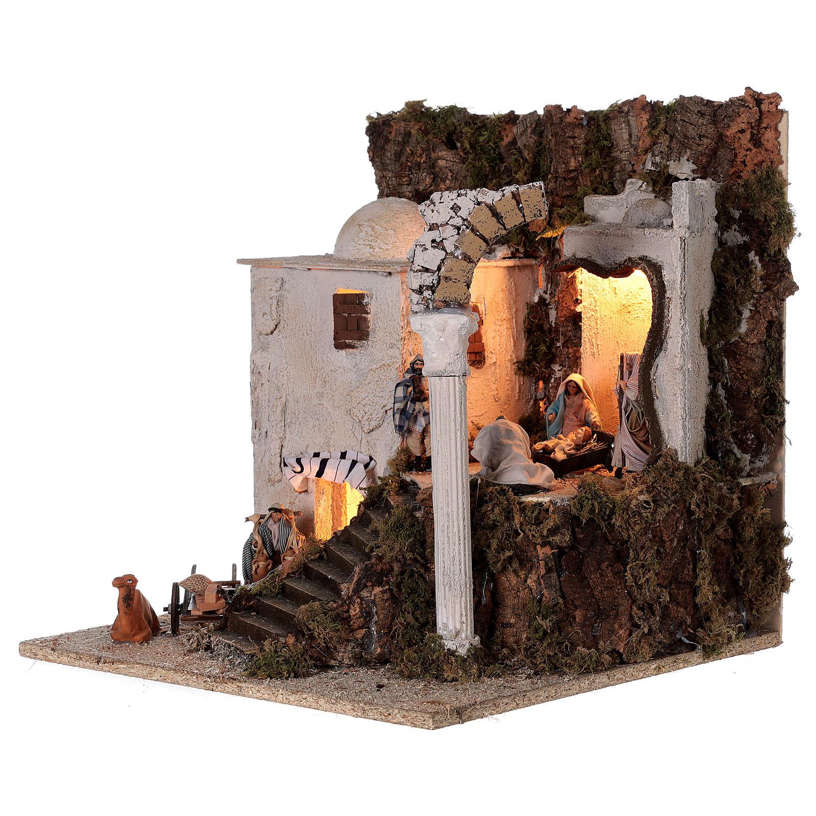 Borgo arabo (B) Natività pastori 8 cm illuminato presepe napoletano 40x35x35 cm 4