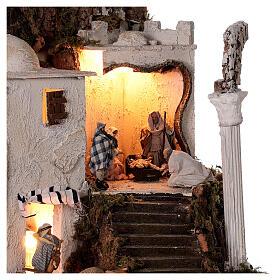 Borgo arabo (B) Natività pastori 8 cm illuminato presepe napoletano 40x35x35 cm s2